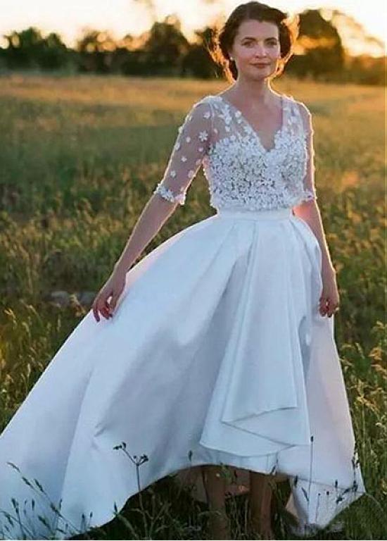 Hi Low Vestido De Noiva 2019 Wedding Dresses A-line Deep V-neck Flowers Beaded Beach Boho Dubai Arabic Wedding Gown Bridal