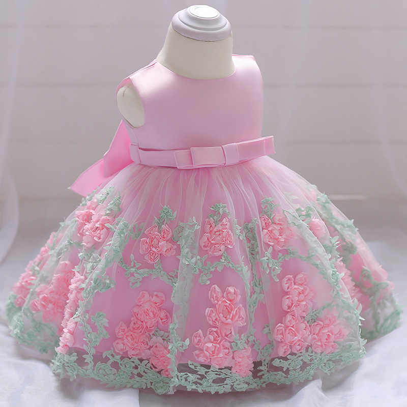03bf6df872987 Blue Flowers Baby 1st Birthday Dress Newborn Girls Christening Gowns Baby  Girls 2 Years Anniversary Party Dress Infant Dresses