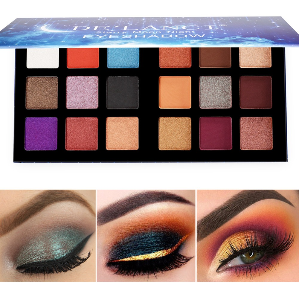 DE'LANCI Eyeshadow Pallete 18 Colors Shimmer Matte Eye Shadow Powder Make Up Waterproof Highly Pigmented Palette Cosmetics