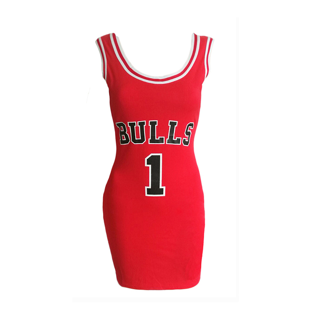 2017 Summer e Bulls Sporting Dress Women Cut Jersey Above Knee Length O-Neck Tunic Dresses Style Vestidos