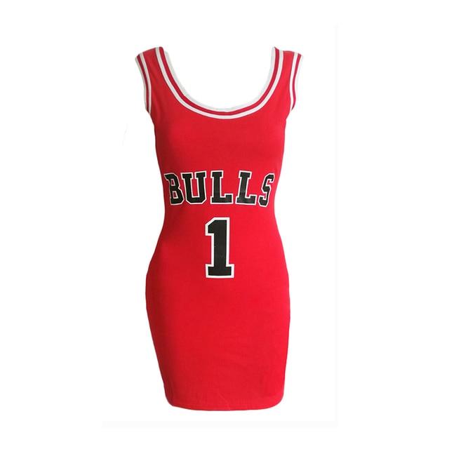 2020 Women Letter e Bulls Print Sporting Summer Dress Cut Jersey Above Knee Length Black White Red Tunic Dresses Style Vestidos