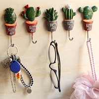 7Style Wall Hook Cactus Adhesive Artificial Flower Pot plant Home Decor Storage Organizer Key Rack Bathroom Kitchen Towel Hanger