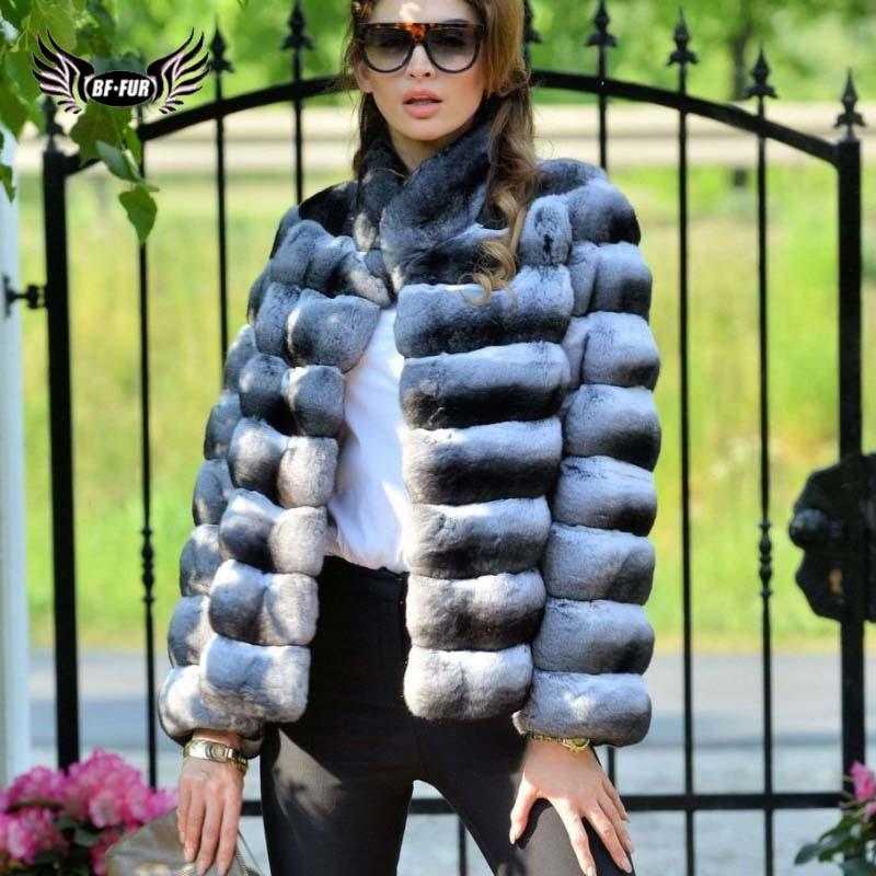 Rabbit Fur Coat Chinchilla Russian Winter Coats 2018 Parka Real Fur Covered Women Winter Whole Skin Fashion Slim Fur Natural