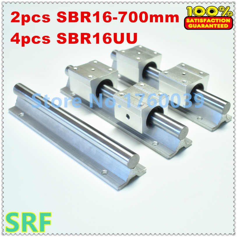 SBR16 linear guide rail set:2pcs SBR16 L=700mm linear shaft rail support+ 4pcs SBR16UU Linear Motion Bearing Blocks for CNC 2pcs sbr16 l 500mm linear shaft rail support with 4pcs sbr16uu linear motion auminum bearing sliding block for router part