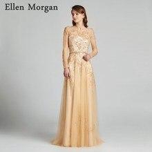 Ellen Morgan Champagne Long Sleeve Prom Dresses 2019