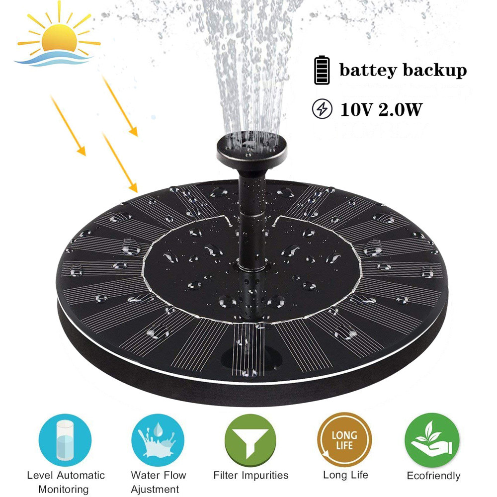US $18 94 37% OFF|Upgraded Solar Fountain Solar Fountain Pump With Battery  Backup Solar Panel Kit Strong pressure high water flower S14 35-in