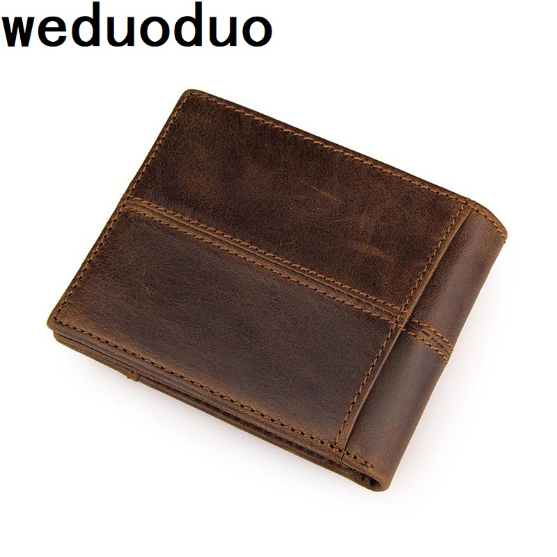 Weduoduo Brand Genuine Leather Men Wallets Coin Pocket Zipper Real Men's Leather Wallet with Coin High Quality Male Purse