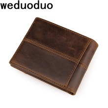 Weduoduo Brand Genuine Leather Men Wallets Coin Pocket Zipper Real Men's Leather Wallet with Coin High Quality Male Purse недорго, оригинальная цена