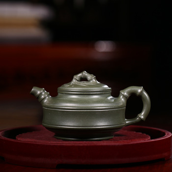 Yixing Kung Fu Tea Have Suit Dark-red Enameled Pottery Teapot Crewel Bamboo Drum Full Manual Teapot Yixing Sketch Kettle