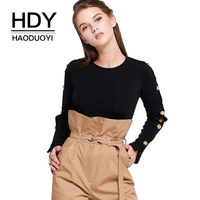 HDY Haoduoyi Button Long Sleeve T Shirts Women Solid Black White Tops Elegant Office Ladies Wear