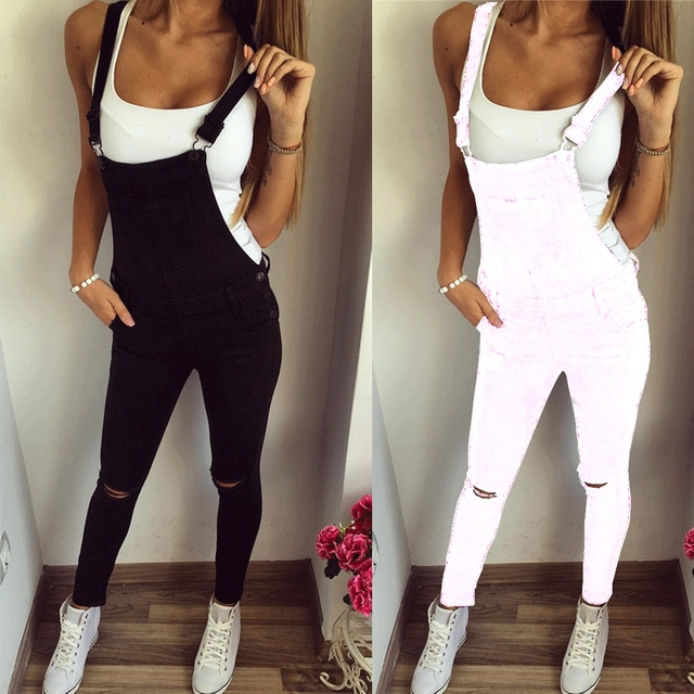 Fashion New Pencil Pants Spring Autumn Hole Ripped Jumpsuits Stretch Mid Waist Female Pant Young Women Trousers Jumpsuits Bottom