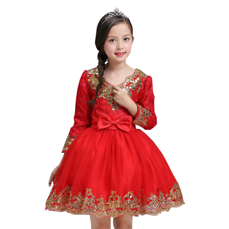Autumn Winter Sequined Flower Dress For Baby Girl Gown Birthday Party Outfits high grade Kids clothes Children Wedding Dress Red