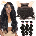 360 Lace Frontal Closure With Bundles Brazilian Body Wave With Closure Human Hair Pre Plucked 360 Lace Frontal With Baby Hair