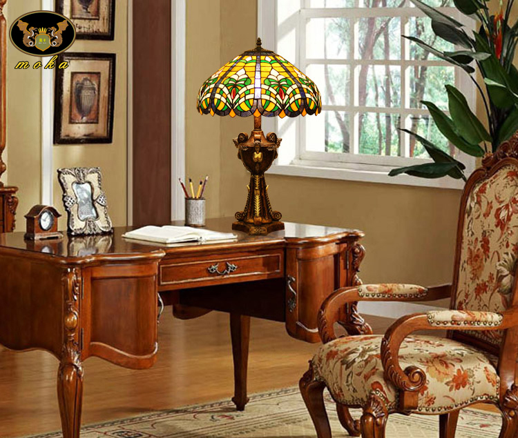 Tiffany Table Lamp Living Room Study Retro Colored Glass Coffee Bar, Club  House Church Classical Light In Decorative Films From Home U0026 Garden On ...