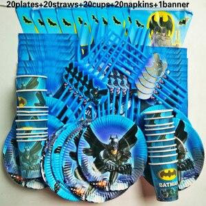 Image 3 - 81個20人ハッピーバースデー子供バットマンベビーシャワーパーティーの装飾セットバナーテーブルクロスストローカッププレートサプライヤー