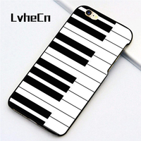 LvheCn 5 5S SE phone cover cases for iphone 6 6S 7 8 Plus X back skin shell Piano Keys Musical Keyboard