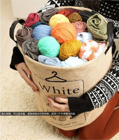 Free shipping New arrival Zakka style Jute Waterproof Storage barrel Storage bag Debris arrange Organization Home decoration