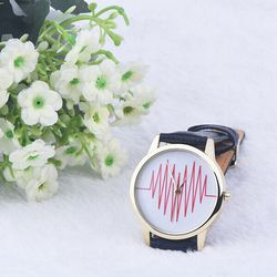 WATCHES !! 5 Colors Choose Women Quartz Watch PU Leather Geneva Watch Ladies Love Heart Ecg monitor love pattern Watch 2016