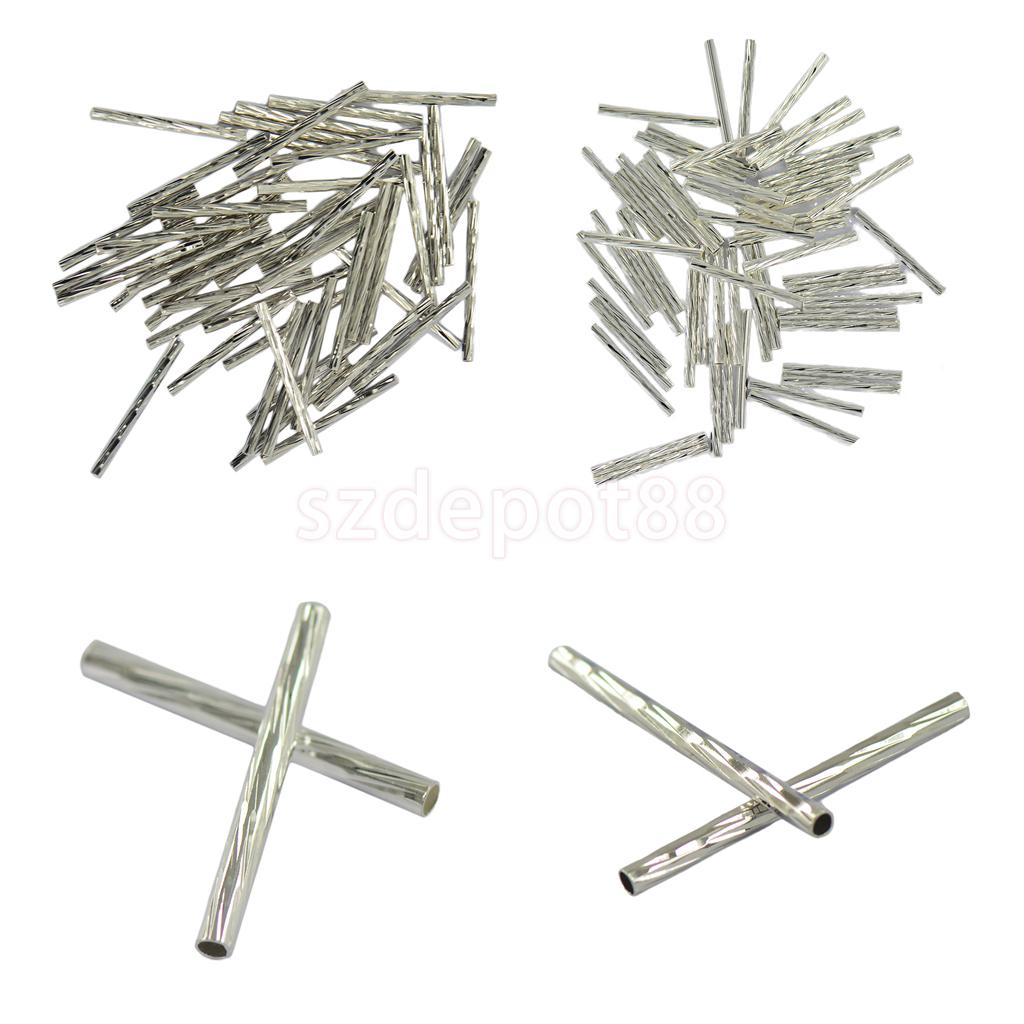 50x Silver White Brass Metal Straight Tube Bead Spacer Jewelry Finding
