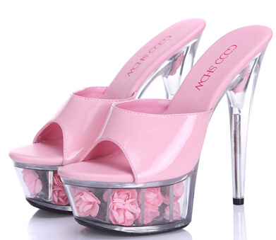2015 Multicolor Rose Waterproof Sexy Wedding Shoes High heeled Sandals Nightclub Sandals slippers Shoes Women Plus