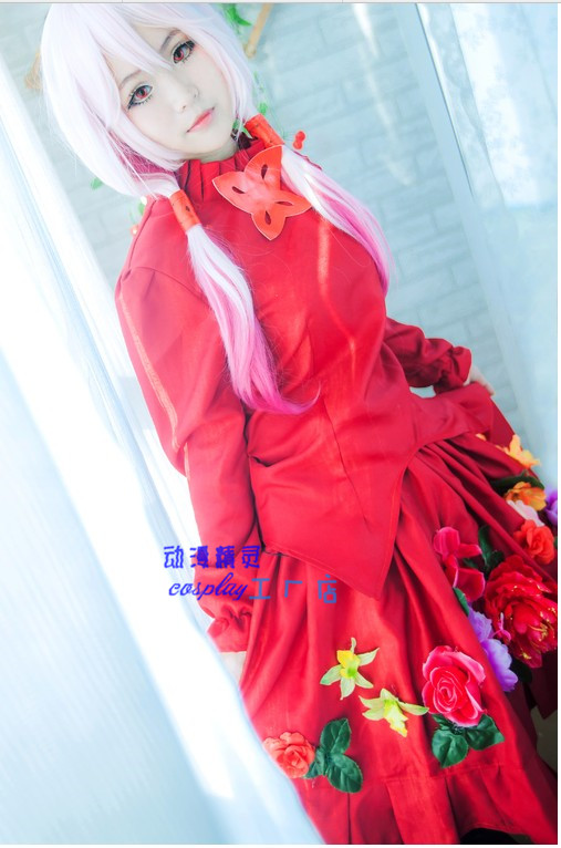2016 Guilty Crown GC YUZURIHA INORI red flowers cosplay costume