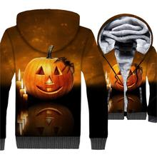 Happy Halloween Jacket Pumpkin Hoodie Men Funny All Saints Day Sweatshirt Winter Thick Fleece Warm 3D Print Jack-O-Lantern Coat