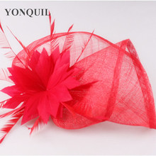 17 Colors charming silk flower wedding hair accessories sinamay material party fascinator veils cocktail bridal hat