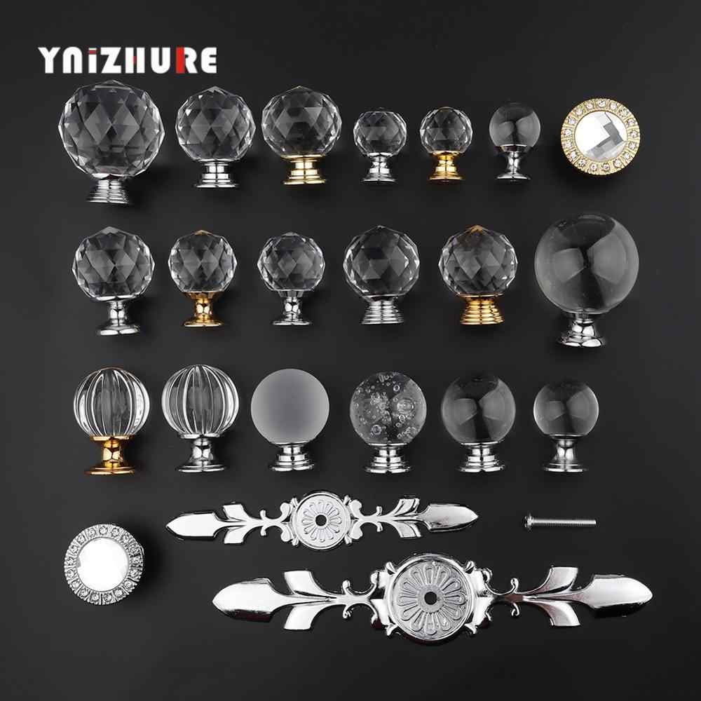 YNIZHURE Brand Design 20-40mm Crystal Glass Knobs Handles Dresser Drawer Kitchen Cabinet Pull Cupboard Handle