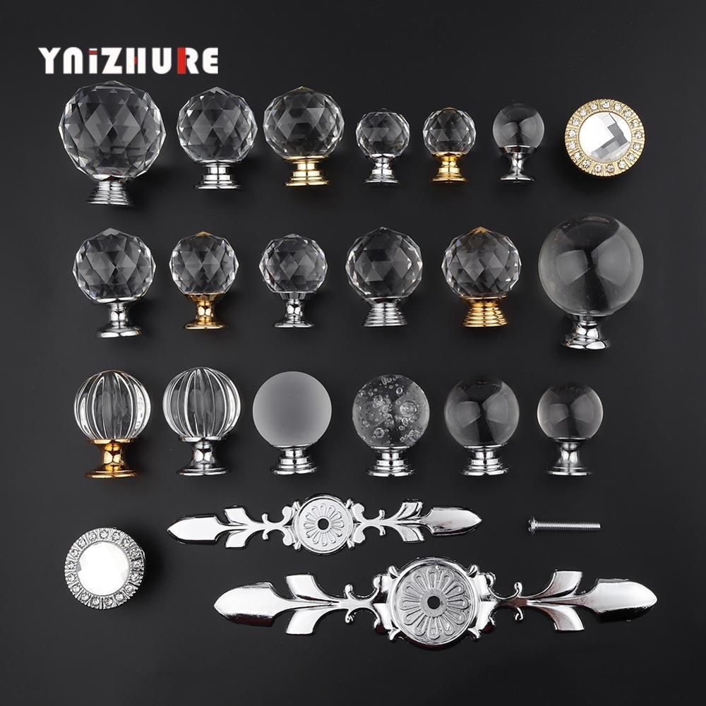 YNIZHURE Brand Design 20-40mm Crystal Glass Knobs Handles Dresser Drawer Kitchen Cabinet Pull Cupboard Handle