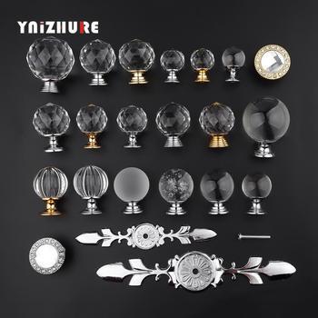 YNIZHURE Brand Design 20-40mm uchwyty ze szkła kryształowego komoda z szufladami szafka kuchenna pociągnij uchwyt do szafki tanie i dobre opinie Meble uchwyt i pokrętła Maszyny do obróbki drewna Szkło kryształowe Nowoczesne 64mm crystal ball