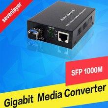 Fiber Optical media converter 1 port sfp to 1 rj45 gigabit optical fiber ethernet  for ip camera 2 pieces optical fiber sensor for fs v1p