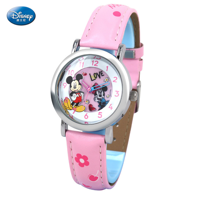 Disney Brand Relogio Feminino Date Day Clock Female Leather Watch Children Fashion Casual Watch Quartz Wrist Women Watches