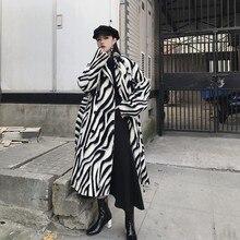 LANMREM 2019 nuovo risvolto di spessore zebra stampato a righe di lana allentato tipo lungo cappotto sopra le ginocchia giacca per le donne di grandi dimensioni formato QF039