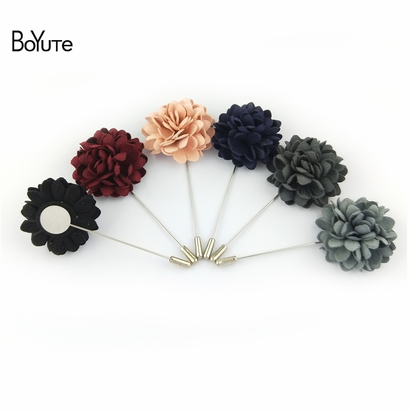 BoYuTe 5Pcs Hand Made Fabric Flower Lapel Pin Fashion Men Brooches and Pins for Suits (2)