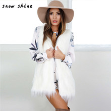 snowshine  #3001    Warm Outwear Women Sleeveless White Slim Vest Faux Fur Waistcoat Jacket Coat   free shipping