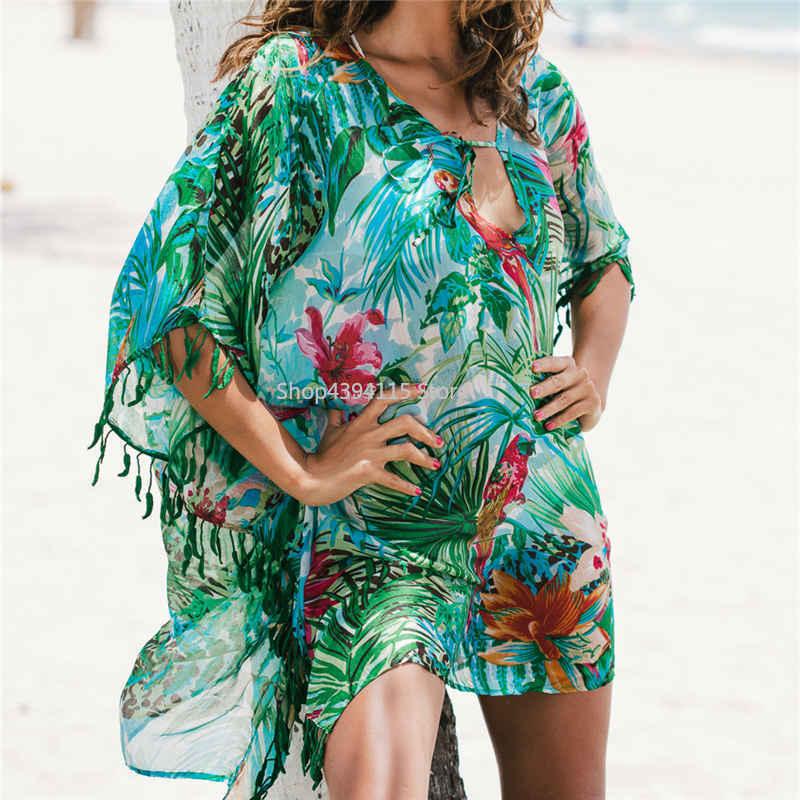 2019 Tunic For Beach Bathing Suit Cover Ups Chiffon Beach Dress Women Beachwear Bikini Cover Up Saida De Praia #q523 In Pain