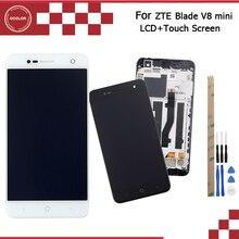 Ocolor para lâmina zte v8 mini display lcd e tela de toque com moldura do telefone acessório para lâmina zte v8 mini + ferramentas adesivo