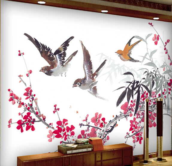 Custom Environmental 3D stereoscopic large mural living room sofa TV background wallpaper wall paper Nature Plum Chinese style custom 3d stereoscopic large mural wallpaper wall paper living room tv backdrop of chinese landscape painting style classic