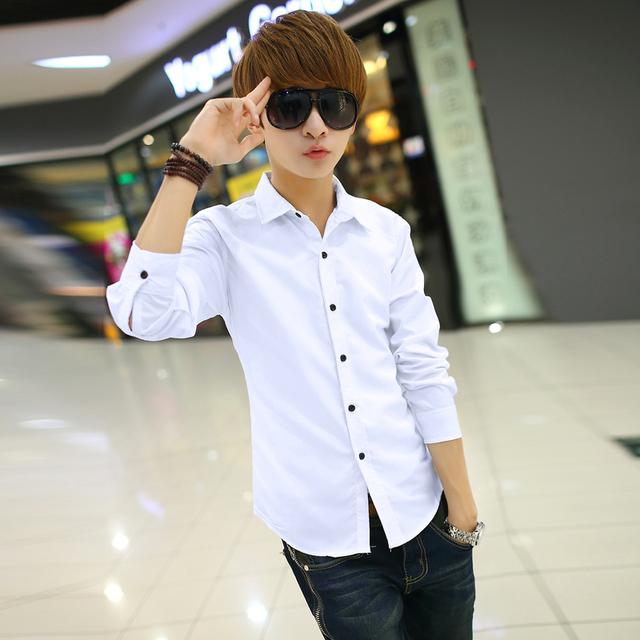 Primavera camisa de los hombres 2017 nuevo otoño masculina camisa de manga larga camisa blanca delgada ocasional adolescente niños moda negro