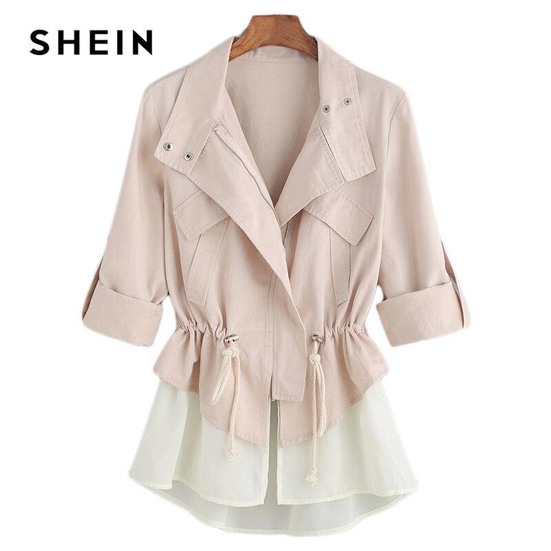 Шеин розовый Highstreet офисные женские туфли Roll Sleeve Drawstring контрастной отделкой элегантная однотонная куртка осень для женщин Минималистский к...