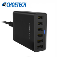 CHOETECH Multi Phone Charger Adapter for iPhone 50W 6-Port USB Wall Charger US/UK/EU Plug Chargeur Fast Travel Chargers