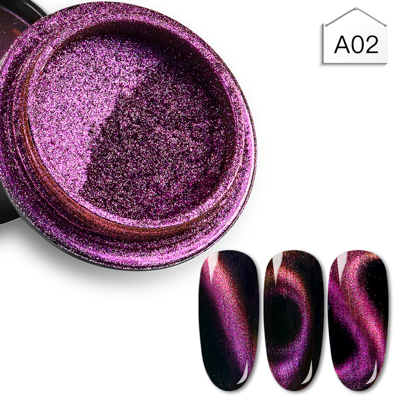 1Box 3D Cat Eye Effect Magnet Mirror Powder With Brush Magnetic Glitter Dust UV Gel Polish Chrome DIY Nail Art Pigment 6 Colors in Nail Glitter from Beauty Health