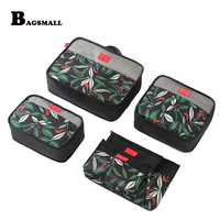 BAGSMALL Waterproof Travel Bags 6pcs Set Packing Cubes Nylon Luggage Packing Organizers With Shoe Bag Fit
