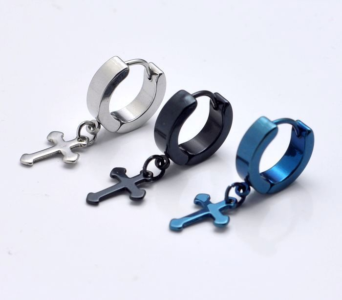 Titanium steel earrings 12.4MM Cross / boys male models Men 316L titanium black (each lot can max color) - Sophia_tan store