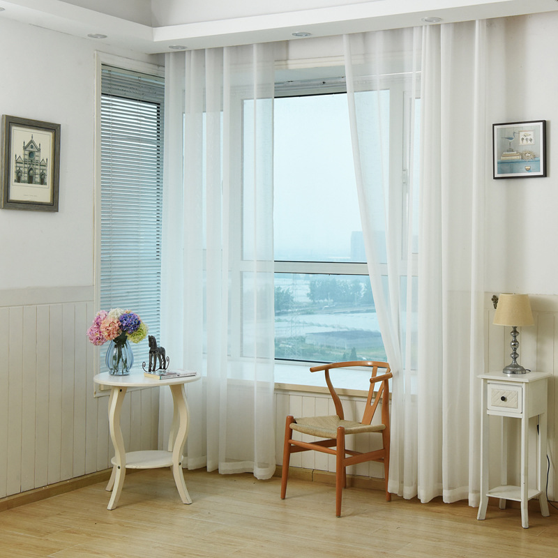 Living Room In Bedroom: Modern Sheer Curtains White Tulle Window Curtains For