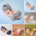 Feitas à mão de tricô macio calças chapéu conjunto bebê clothing acessórios para 0-4 meses bebê recém-nascido fotografia adereços