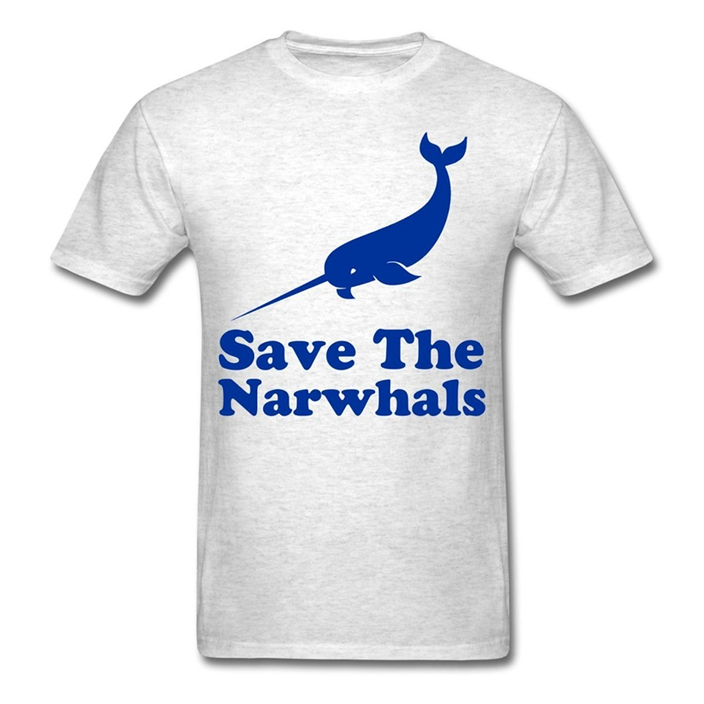 2017 Fashion funny casual Man Tops tees Save the Narwhals Big Fish Mens 2017 Summer Men Funny Animal Cool