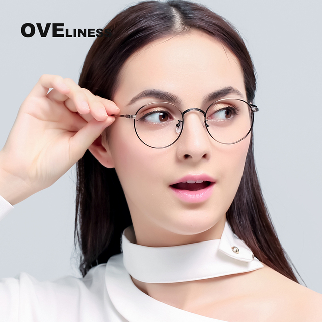 metal eyeglass frames female women optical prescription myopia round clear glasses frame eye glasses frames for - Womens Metal Eyeglass Frames