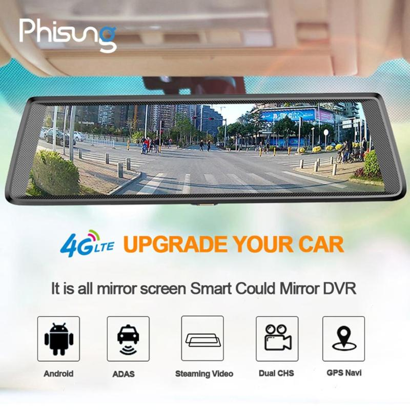 Phisung 10inch 1080P HD Car DVR Camera 4G WiFi Android DVR Bluetooth Dash Cam GPS Navigator With Rear View Camera Touch Screen phisung 10inch car dvr camera ips touch screen bluetooth wifi 4g android dual lens car dvr vehicle rearview mirror camera new