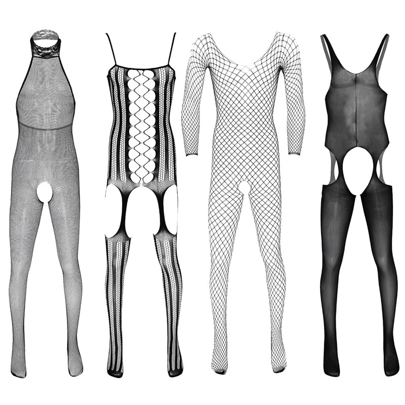 Sexy Male Mesh Lingerie Bodysuit Sheer Crotchless Lace Stretchy Full Body Pantyhose Gay Man Sissy Bodystocking Fishnet Clothing